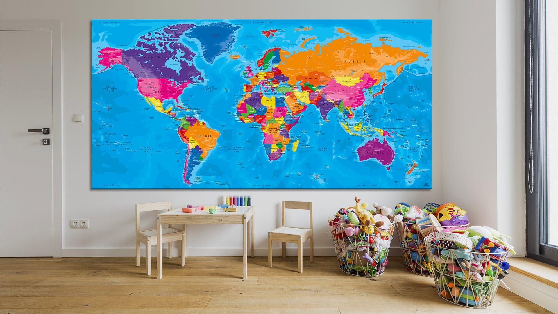 mappemonde tableau carte du monde world map original map. Black Bedroom Furniture Sets. Home Design Ideas