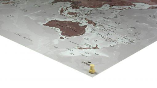 Carte du monde - Mappemonde - Punaises bois