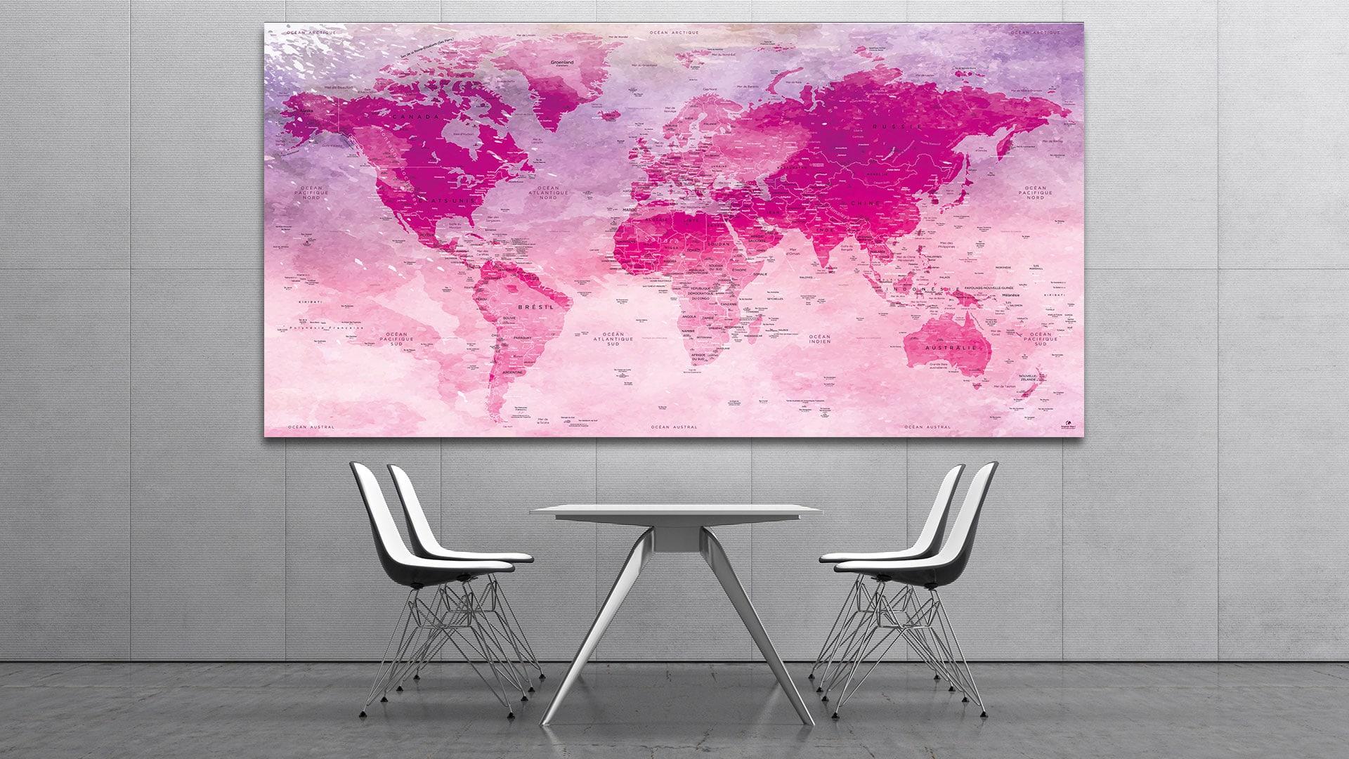 mappemonde tableau carte du monde tableau original map. Black Bedroom Furniture Sets. Home Design Ideas