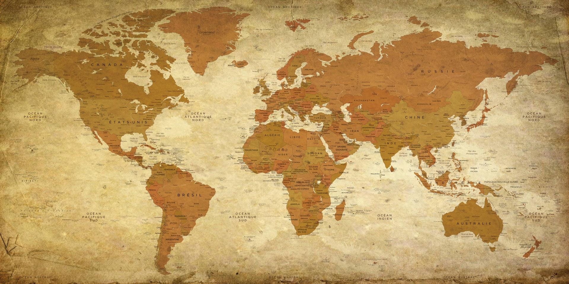 Carte Monde.Carte Monde Vintage Mappemonde Vintage Planisphere Vintage