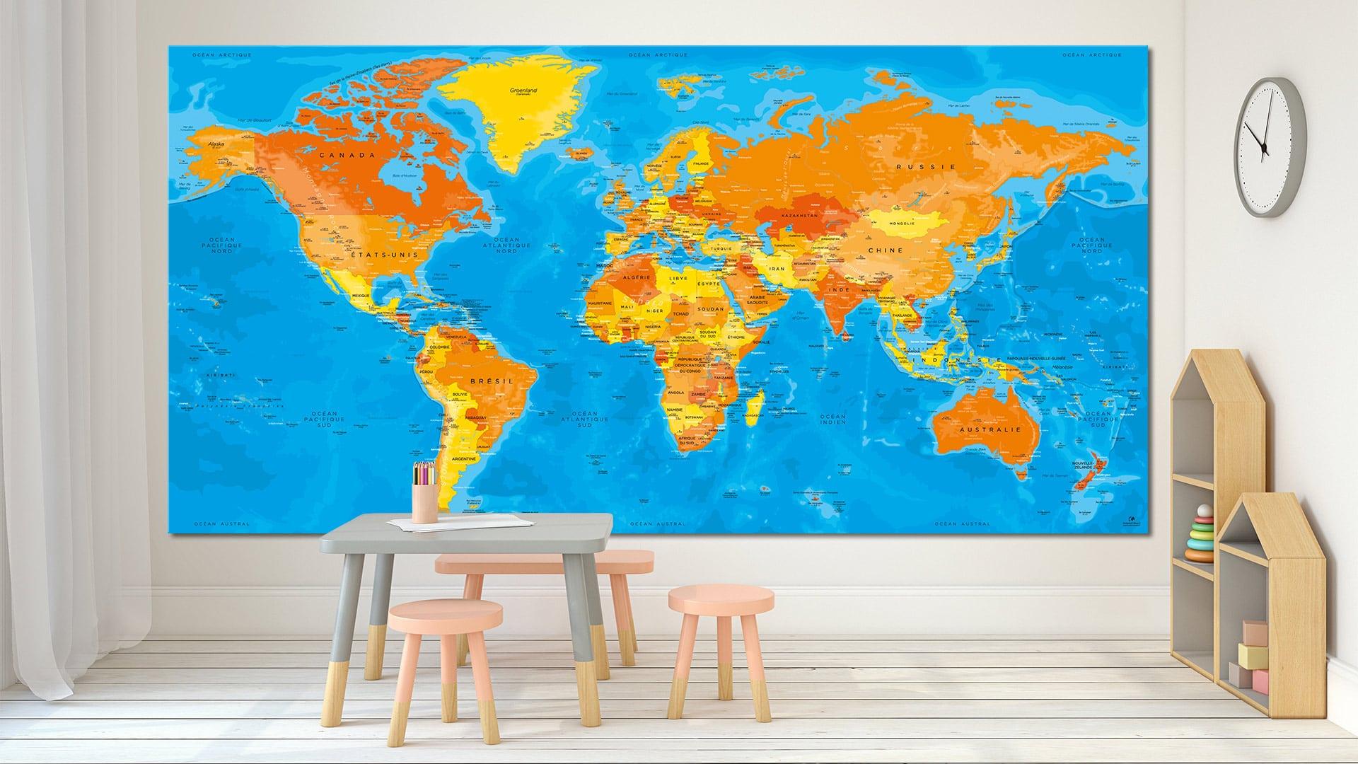 carte du monde tableau mappemonde tableau world map bagan. Black Bedroom Furniture Sets. Home Design Ideas