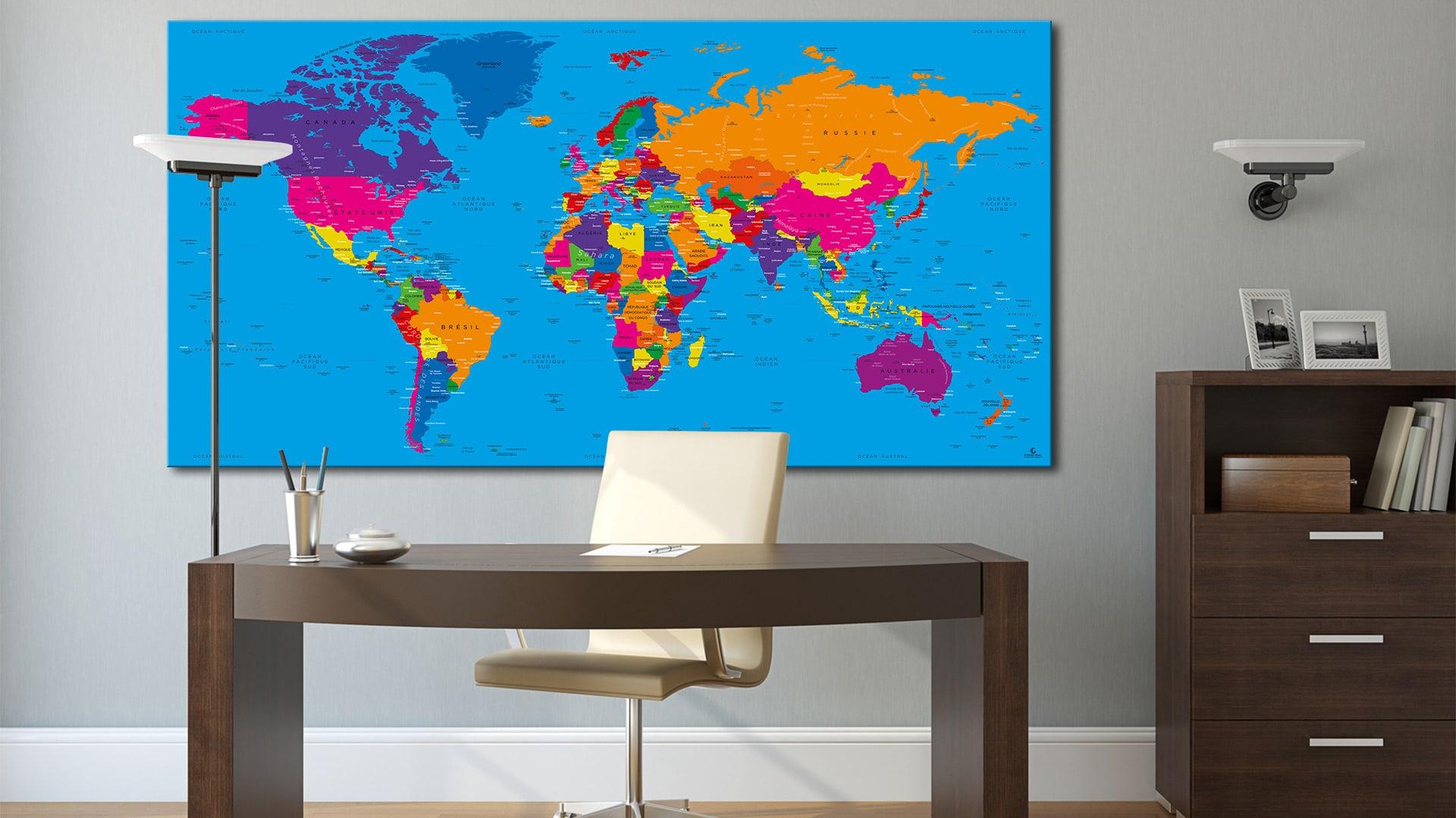 carte du monde tableau mappemonde tableau world map danakil. Black Bedroom Furniture Sets. Home Design Ideas