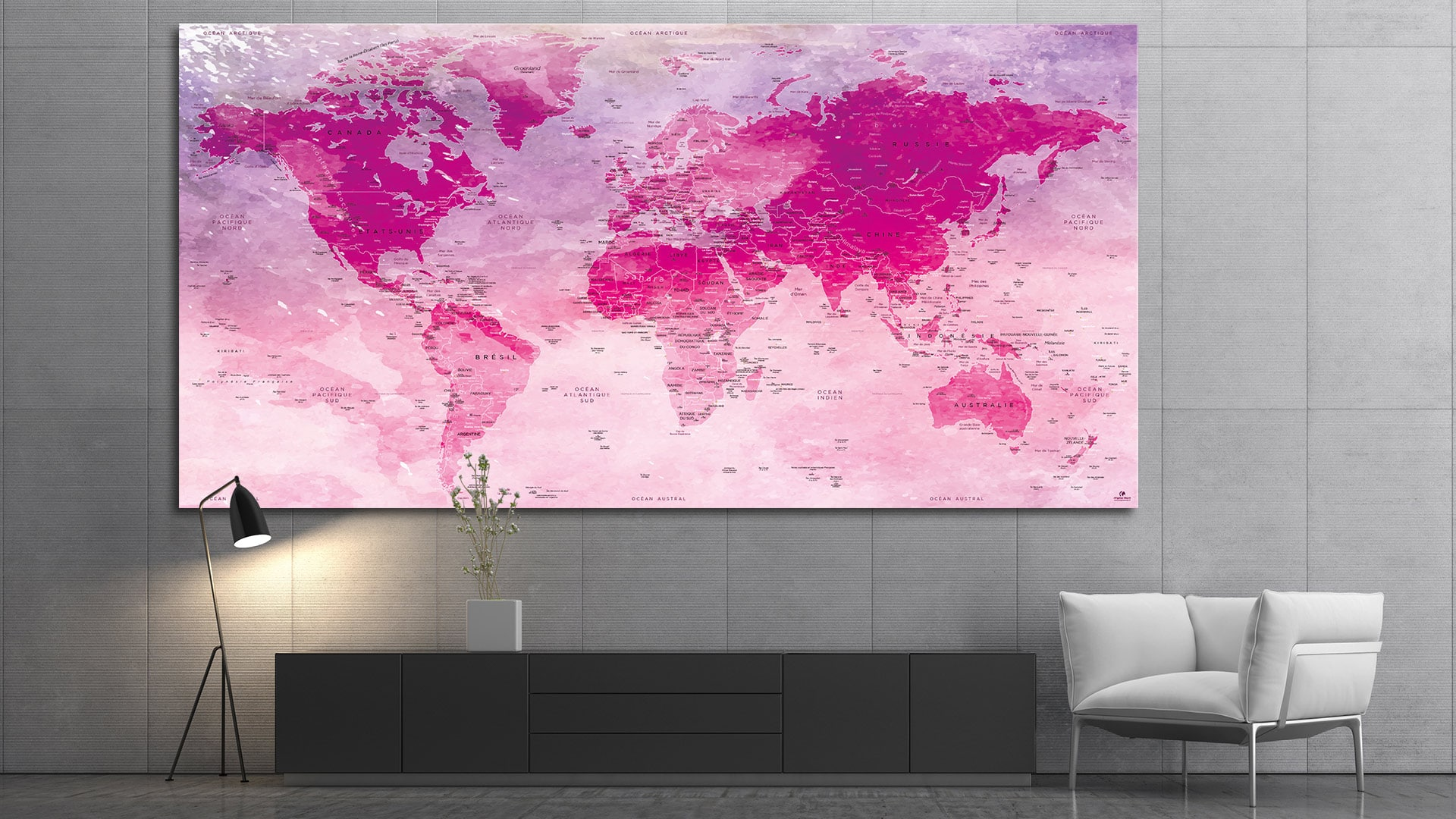 carte du monde tableau mappemonde tableau world map hillier. Black Bedroom Furniture Sets. Home Design Ideas