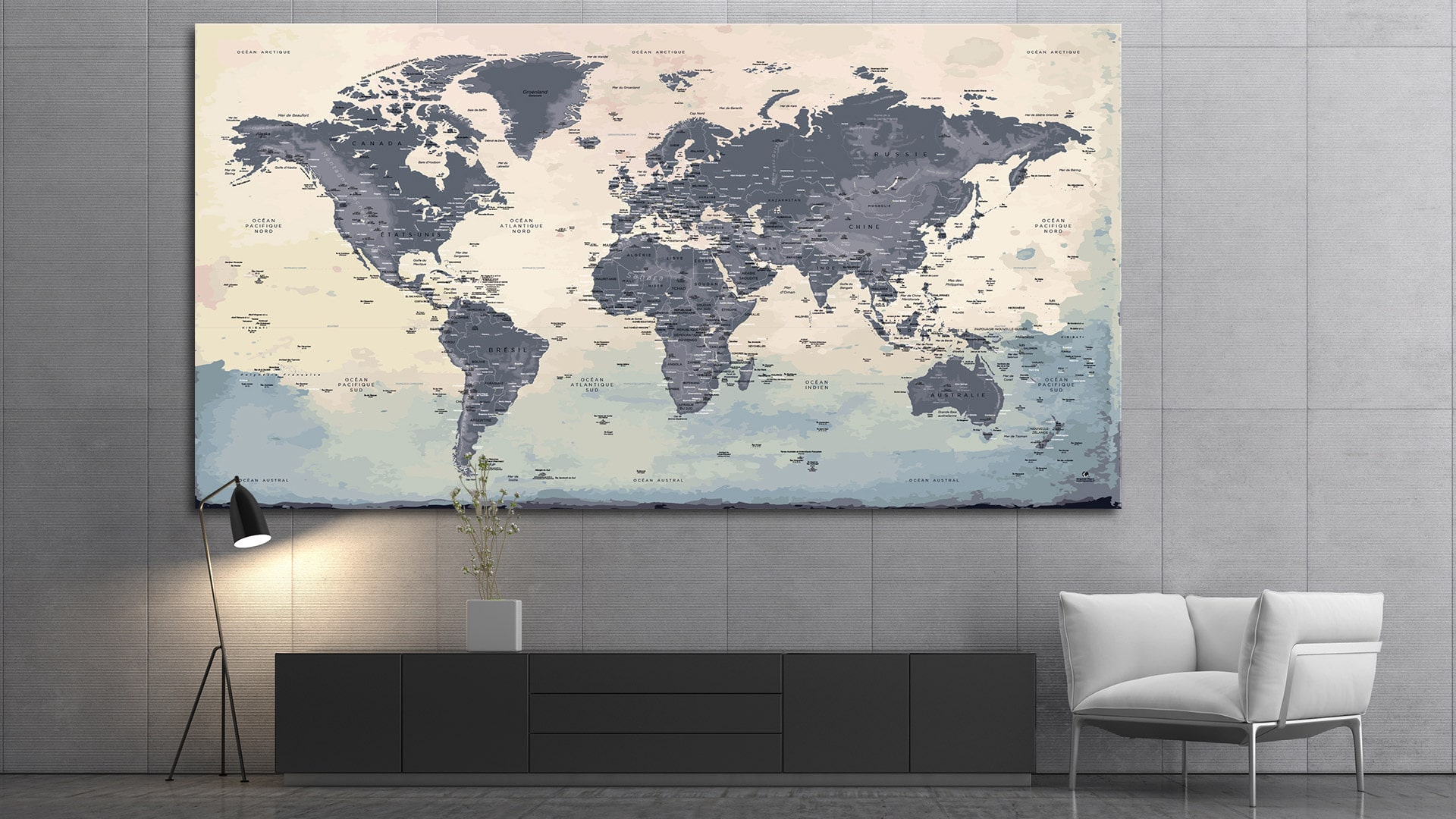 carte du monde tableau mappemonde tableau world map na ca. Black Bedroom Furniture Sets. Home Design Ideas