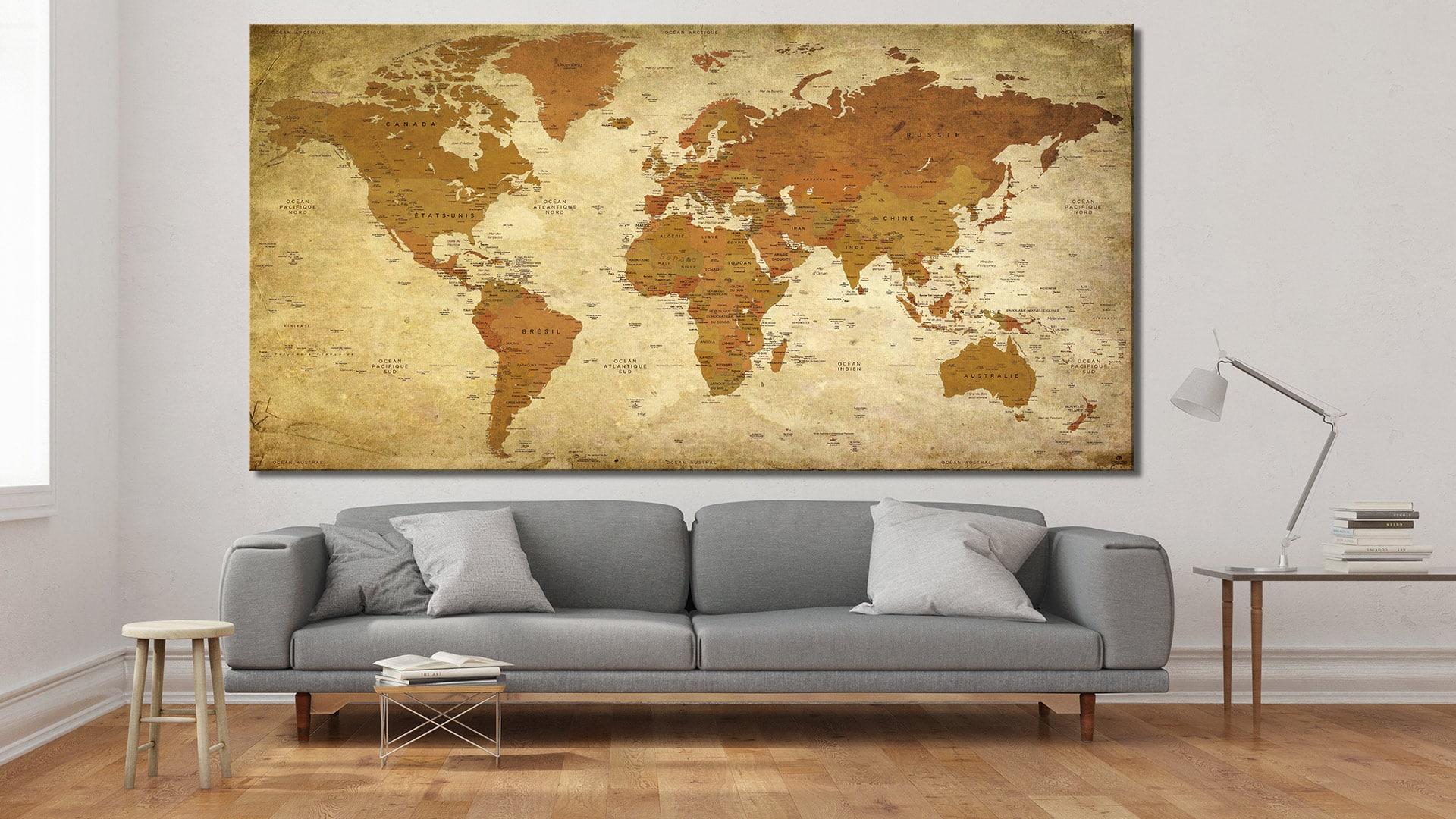 carte du monde tableau mappemonde tableau world map p tra. Black Bedroom Furniture Sets. Home Design Ideas
