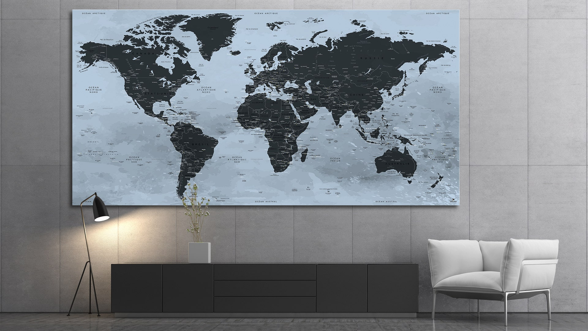 carte du monde tableau mappemonde tableau world map. Black Bedroom Furniture Sets. Home Design Ideas