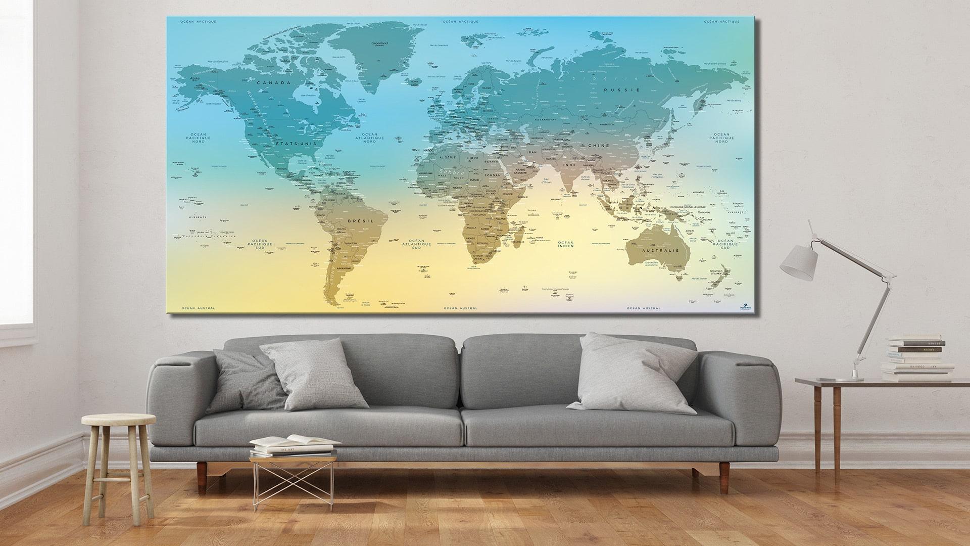 carte du monde tableau mappemonde tableau world map verdon. Black Bedroom Furniture Sets. Home Design Ideas