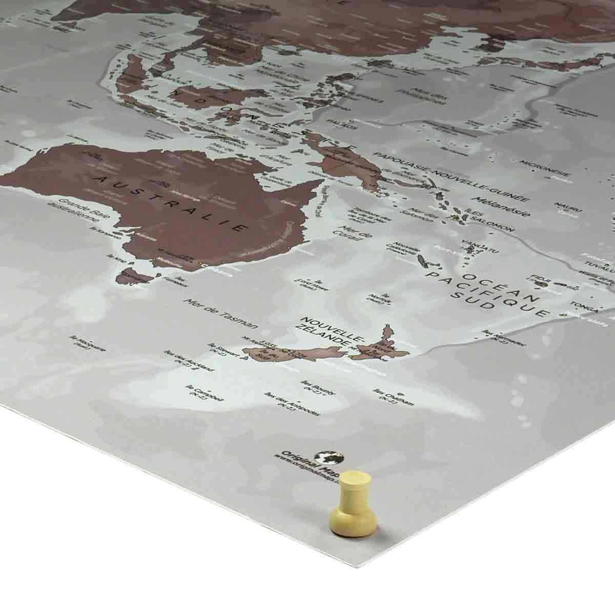 Punaises tête en bois 3 formes - Mappemonde - Original Map