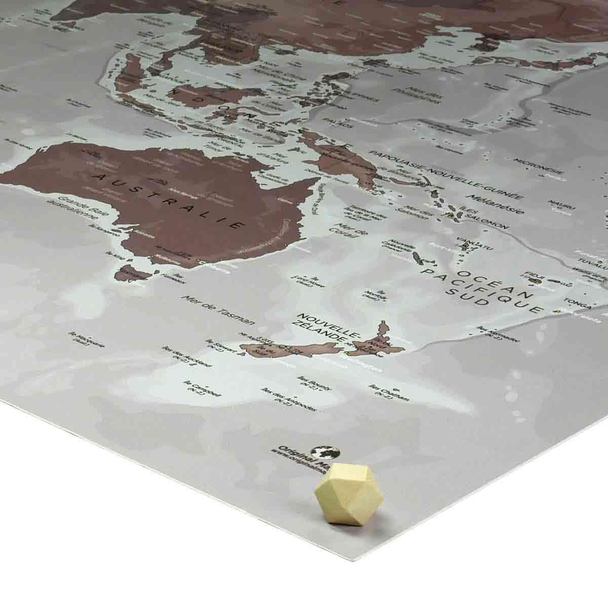 Punaises tête en bois cuboctaèdre - Mappemonde - Original Map