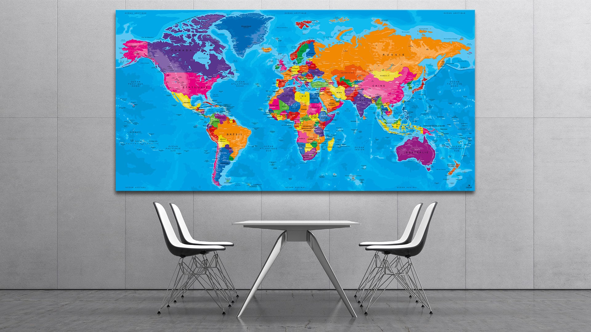 mappemonde tableau carte du monde world map original map. Black Bedroom Furniture Sets. Home Design Ideas
