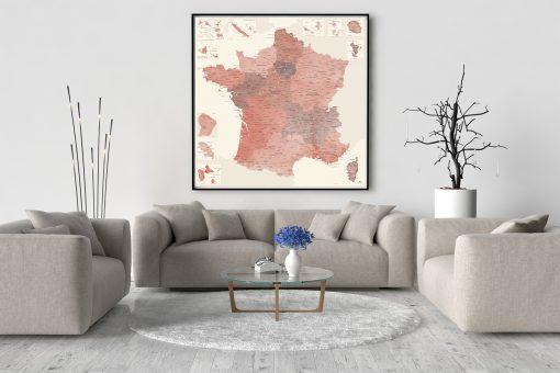 Carte de France Détaillée - Poster Affiche