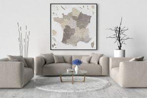 Carte de France Détaillée - Décoration murale