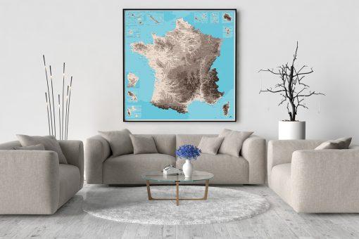 Carte de France Détaillée Déco Murale