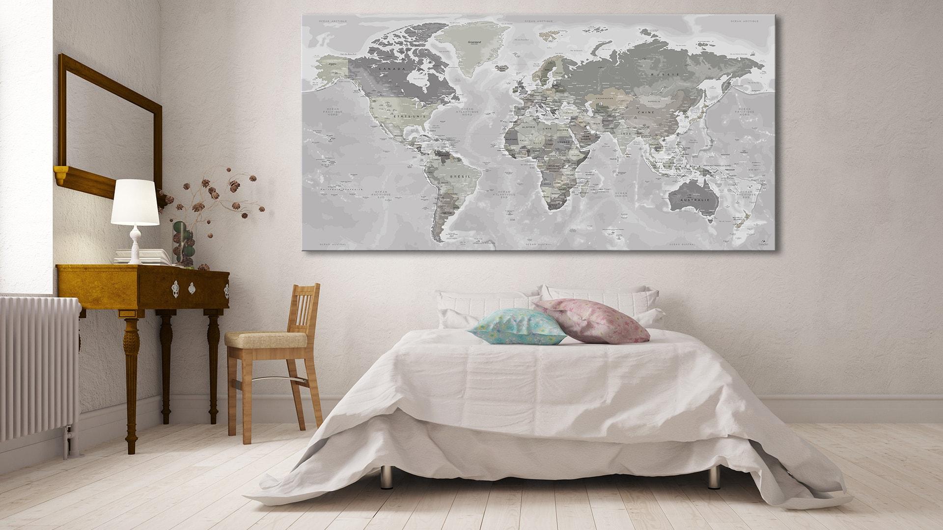 mappemonde murale carte du monde g ante jour original map. Black Bedroom Furniture Sets. Home Design Ideas