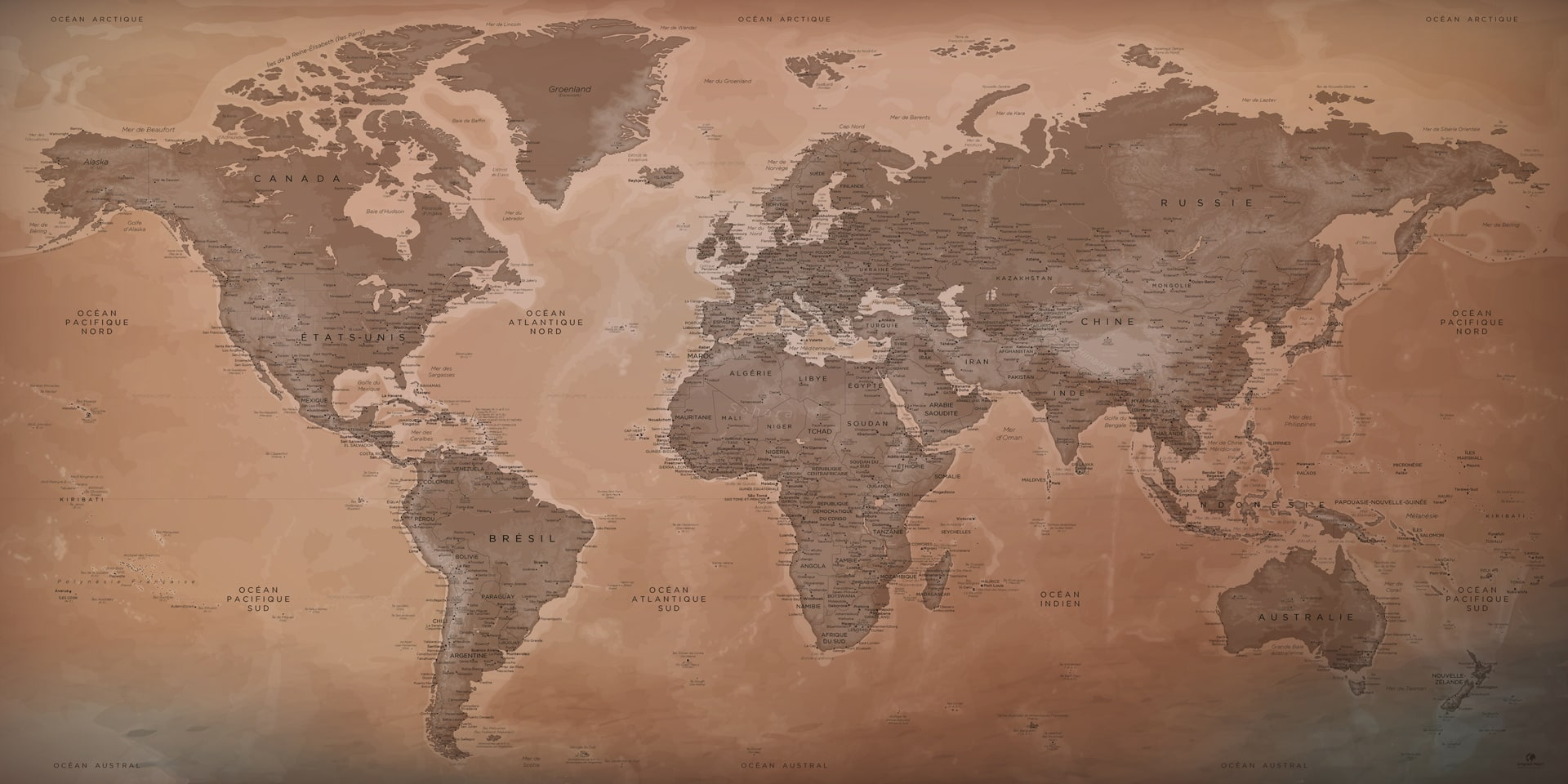 achat d 39 une belle carte du monde comme tableau original map. Black Bedroom Furniture Sets. Home Design Ideas