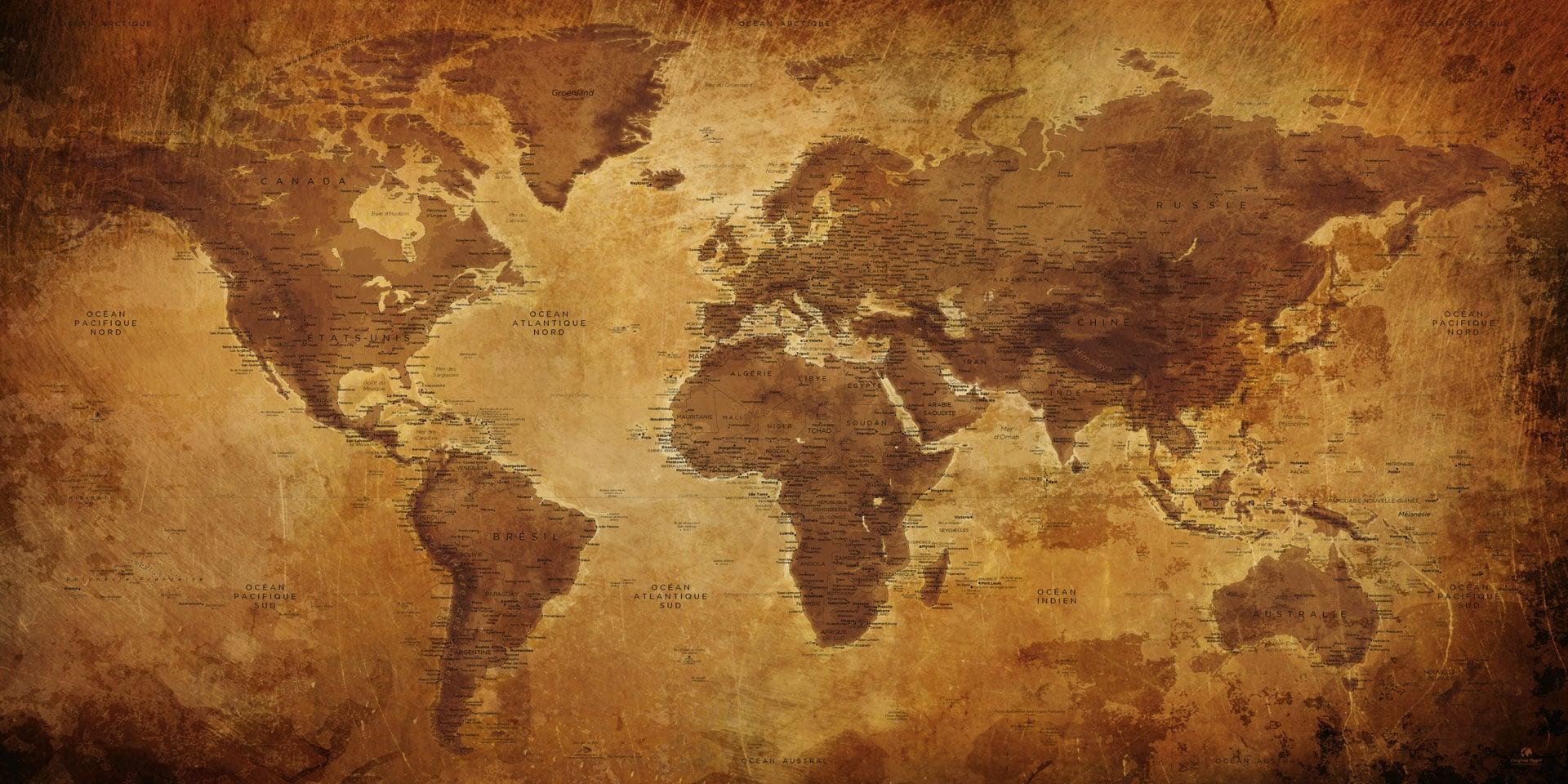 carte ancienne du monde Carte Monde Ancienne   Map Ancienne   Achat   Cadeau | Original Map