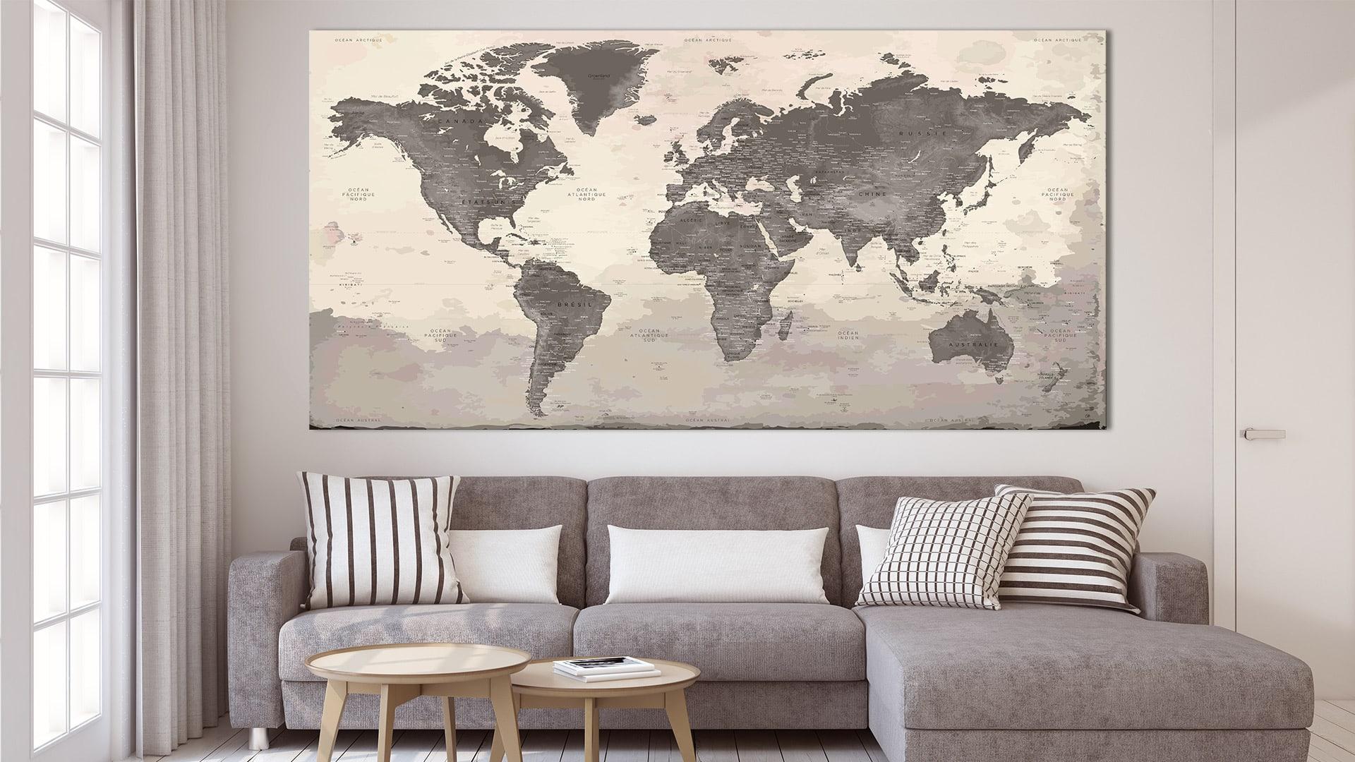carte monde murale peyrepertuse carte monde. Black Bedroom Furniture Sets. Home Design Ideas