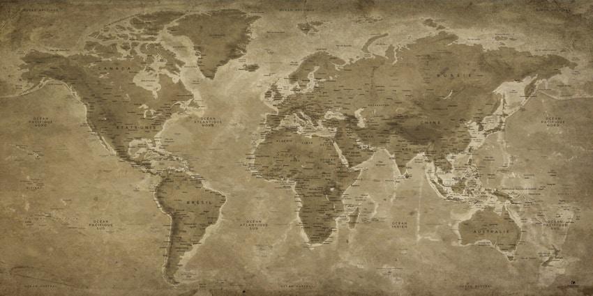 Carte Monde Vintage - Lascaux