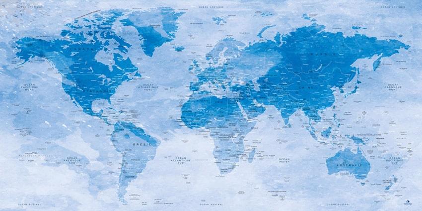 Carte Monde effet Aquarelle - Uyuni