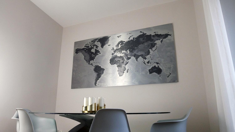 Mappemonde métallique - Tableau métal