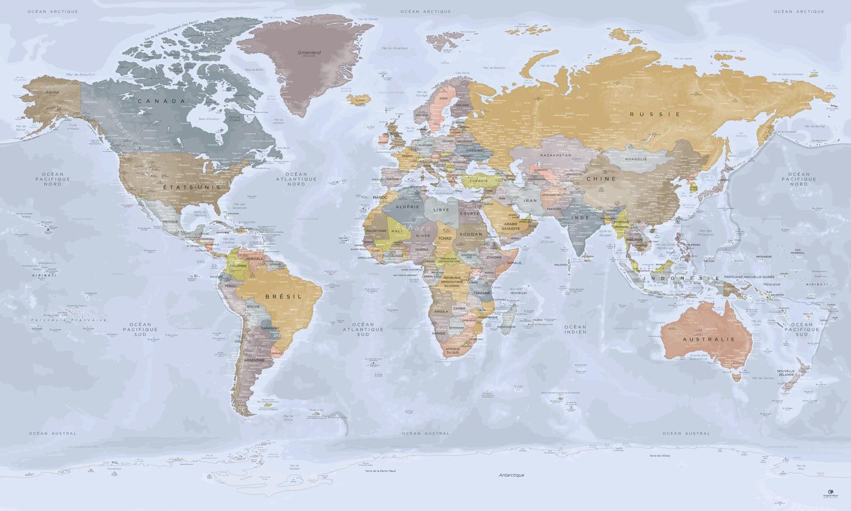 Carte monde complète - Mappemonde Antarctique - Angkor