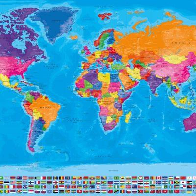Carte Monde Drapeaux