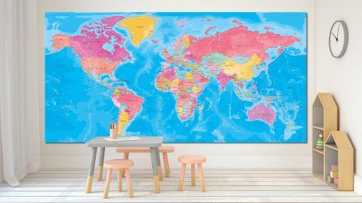 Carte Monde Couleur - Santorin